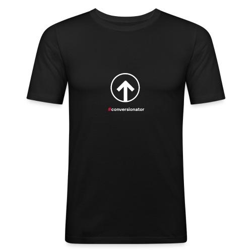 Conversionator mit Pfeil (weiß) - Männer Slim Fit T-Shirt
