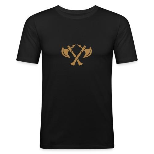 brave warrior gladiator axe tomahawk knights fight - Männer Slim Fit T-Shirt
