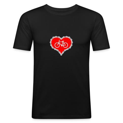 Miłość Biking - Obcisła koszulka męska