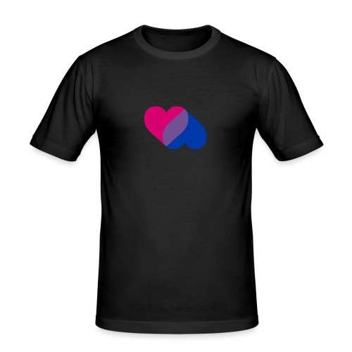 Bisexual Double Heart - Men's Slim Fit T-Shirt