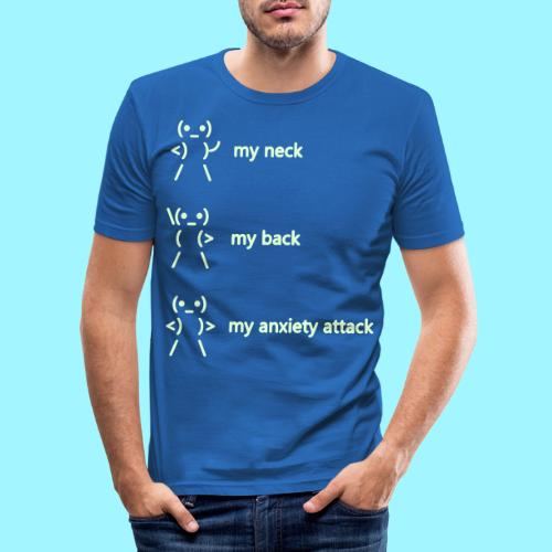 neck back anxiety attack - Men's Slim Fit T-Shirt