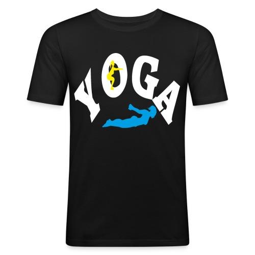 Yoga Schriftzug mit Posen Körperspannung Geschenk - Männer Slim Fit T-Shirt