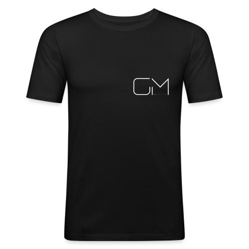 GM GregsMedia 2018 Logo V4 WT png - Men's Slim Fit T-Shirt