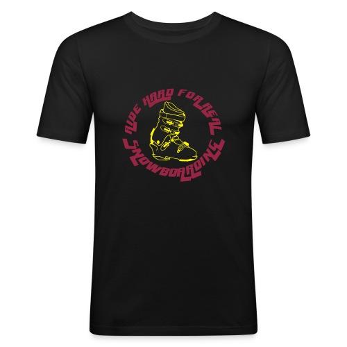 Ride hard for real snowboarding - Männer Slim Fit T-Shirt