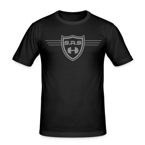 shielded1grey png - Mannen slim fit T-shirt