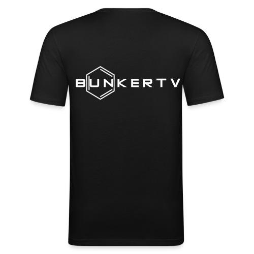 BunkerTV Logo - Männer Slim Fit T-Shirt