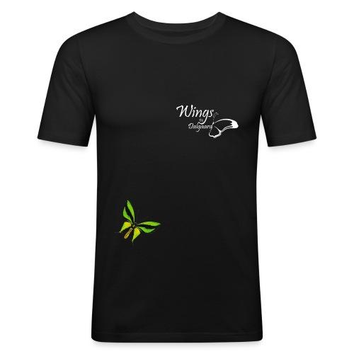 hvid logo - Herre Slim Fit T-Shirt