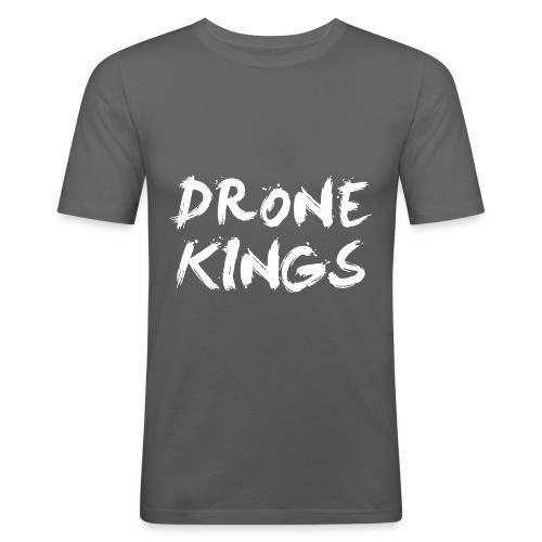 dronekings-whitetext-outlines - Slim Fit T-shirt herr
