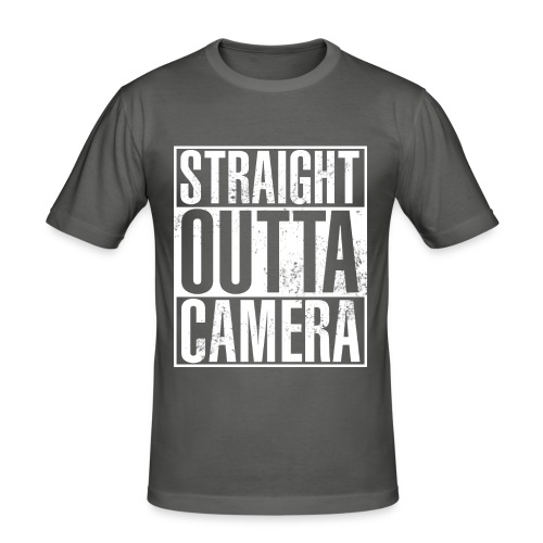 Straight Outta Camera - Black - Männer Slim Fit T-Shirt