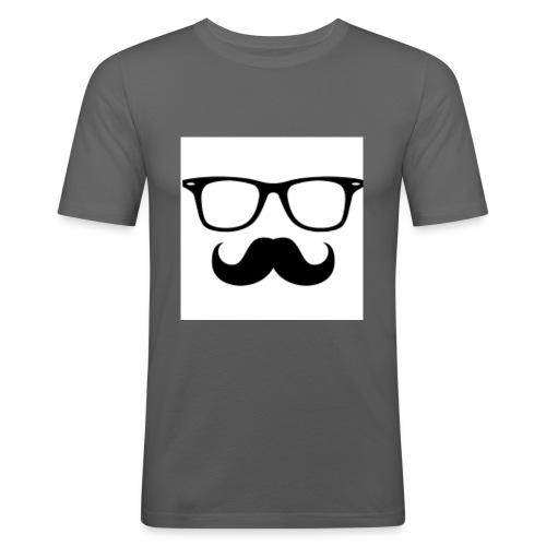 Logo mitBart&Brille - Männer Slim Fit T-Shirt