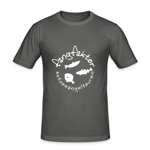 Fangfaktor Logo in Weiß - Männer Slim Fit T-Shirt