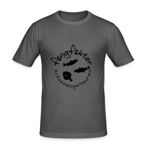 Fangfaktor Logo Schwarz - Männer Slim Fit T-Shirt