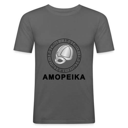Amopeika Dunkel - Männer Slim Fit T-Shirt