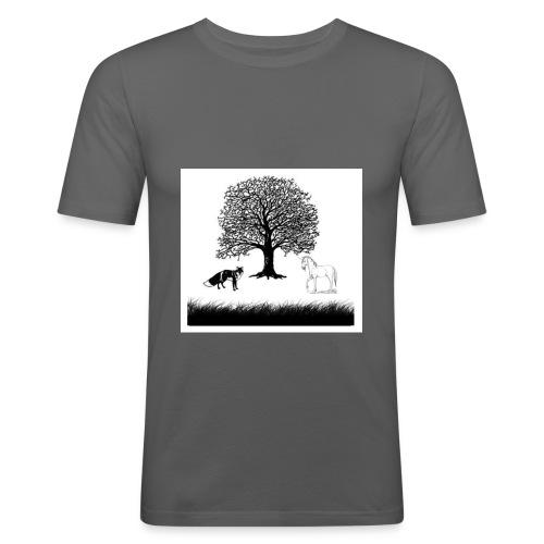 Fuchs vs Pferd - Männer Slim Fit T-Shirt
