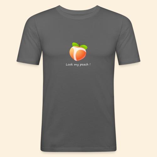 Look my peach in white - Men's Slim Fit T-Shirt