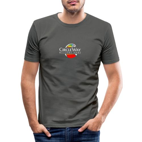 Circleway Welcome Home Logo – weiß - Männer Slim Fit T-Shirt