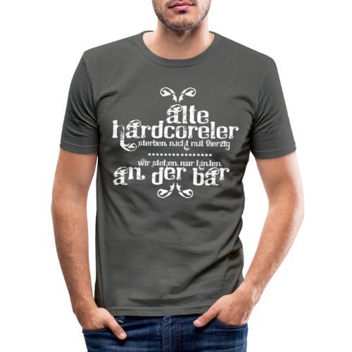 Hardcoreler sterben nicht mit 40 (white) - Männer Slim Fit T-Shirt