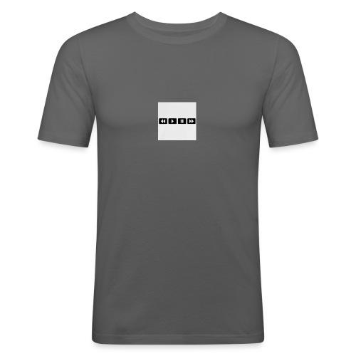 black-rewind-play-pause-forward-t-shirts_design - Mannen slim fit T-shirt
