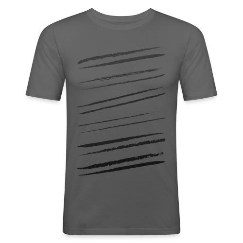 Sneda svarta penseldrag - Slim Fit T-shirt herr