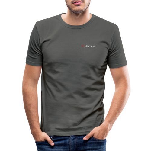 Logo - hvit - kun tekst - bryst - liten - Slim Fit T-skjorte for menn
