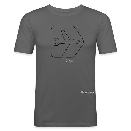 Netzpiloten Logo weiss - Männer Slim Fit T-Shirt