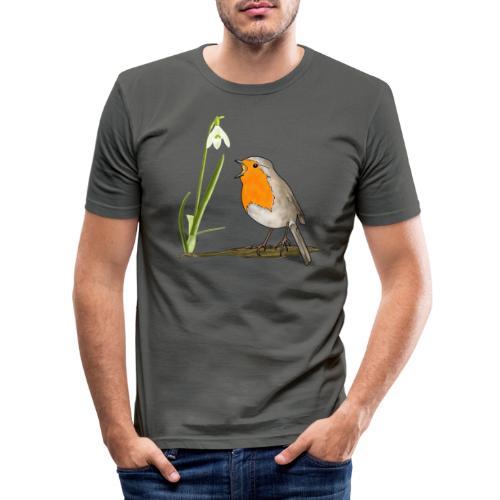 Frühling, Rotkehlchen, Schneeglöckchen - Männer Slim Fit T-Shirt