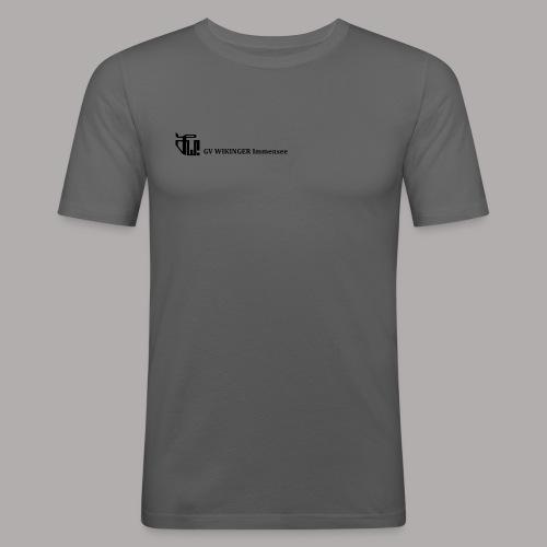Zirkelbanner,schwarz(vorne)Zirkel,schwarz (hinten) - Männer Slim Fit T-Shirt