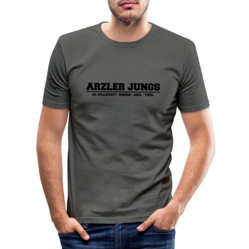 Arzler Jungs Schriftzug in Schwarz - Männer Slim Fit T-Shirt