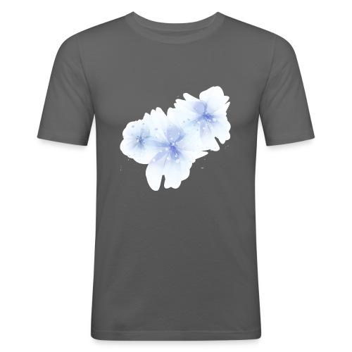 blue flowers - Obcisła koszulka męska