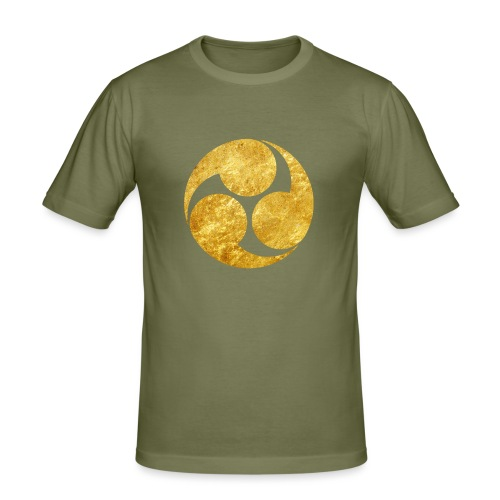 Kobayakawa Mon Japanese clan gold on black - Men's Slim Fit T-Shirt