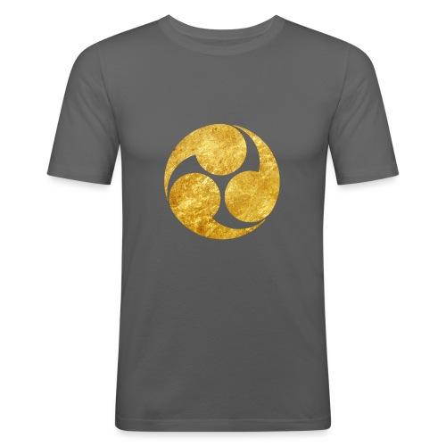 Kobayakawa Mon Japanese clan gold on black - Men's Slim Fit T-Shirt