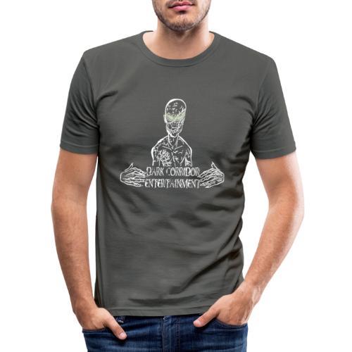 Dark Corridor Logo in Standardgröße mit Schriftzug - Männer Slim Fit T-Shirt