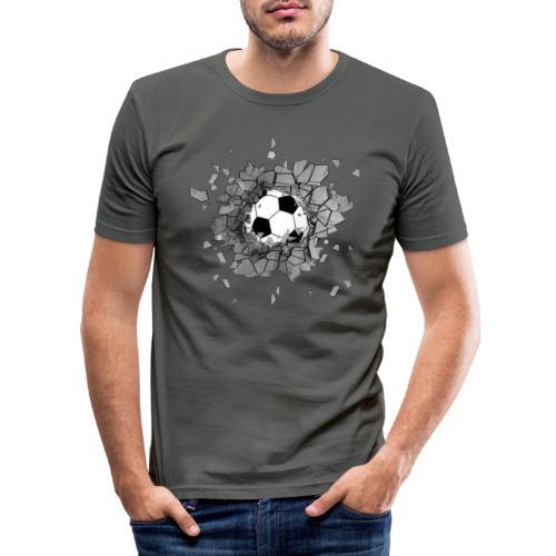 Football durch wand - Männer Slim Fit T-Shirt