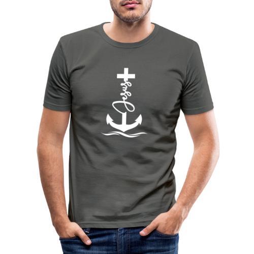 Jesus-Anker white Special - Männer Slim Fit T-Shirt