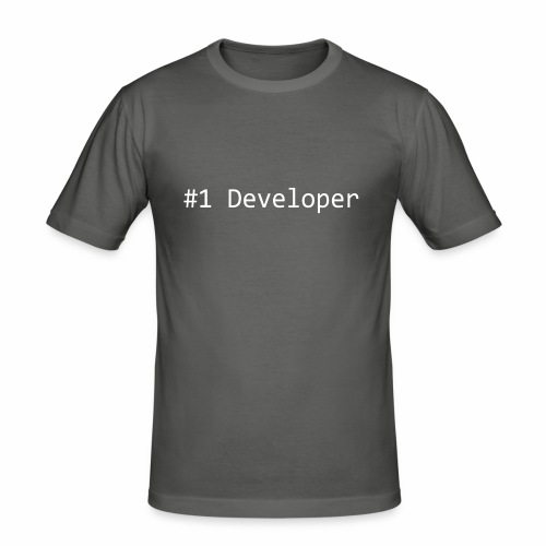 #1 Developer - White - Men's Slim Fit T-Shirt