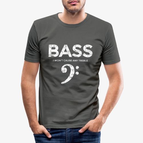 BASS I wont cause any treble (Vintage/Weiß) - Männer Slim Fit T-Shirt