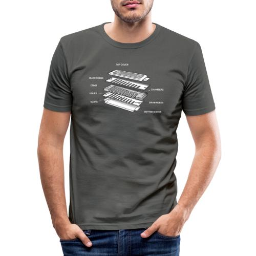Exploded harmonica - white text - Men's Slim Fit T-Shirt