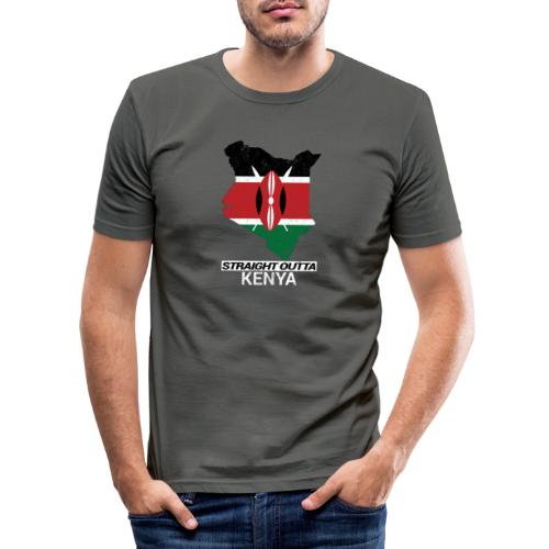 Straight Outta Kenya country map & flag - Men's Slim Fit T-Shirt