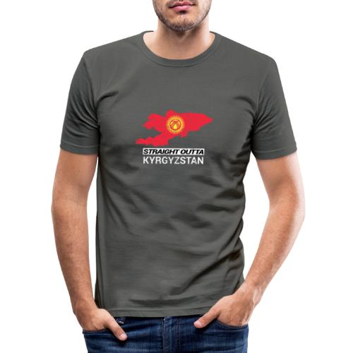 Straight Outta Kyrgyzstan country map - Men's Slim Fit T-Shirt