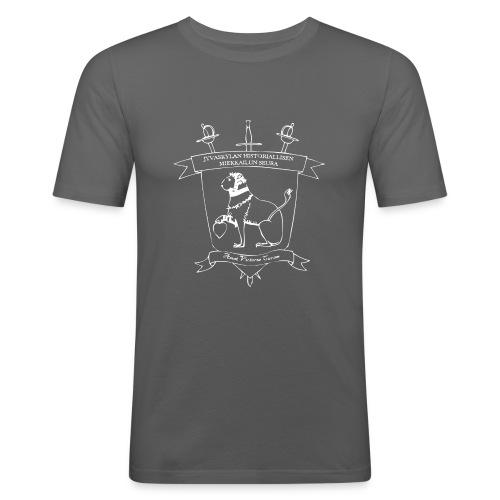 Naisten T-paita, valkoinen logo - Miesten tyköistuva t-paita
