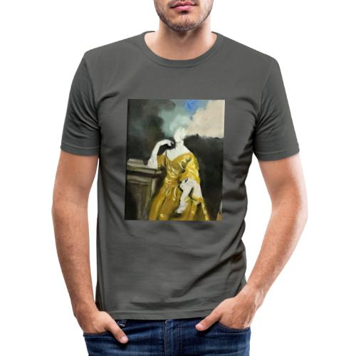 Donna sognatrice, in giallo. Arte da indossare. - Maglietta aderente da uomo