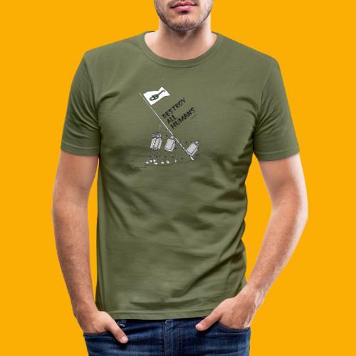 Dat Robot: Destroy War Light - Mannen slim fit T-shirt