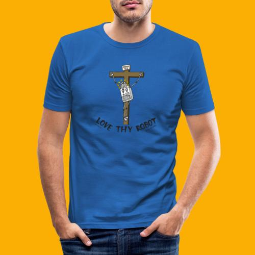 Dat Robot: Love Thy Robot Jesus Light - Mannen slim fit T-shirt