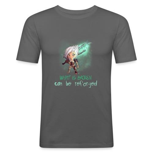 Chibi Riven con scritta - Maglietta aderente da uomo