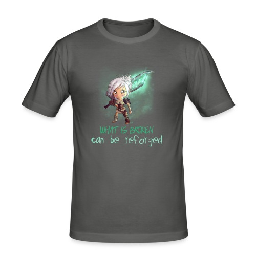 Chibi Riven con scritta DONNA - Maglietta aderente da uomo