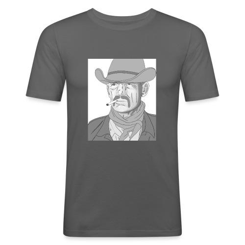 Retrato de vaquero con sombrero - Camiseta ajustada hombre