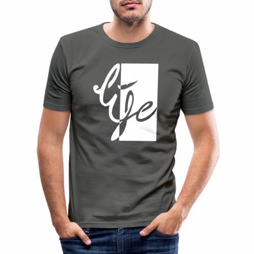 Life Logo 02 white - T-shirt près du corps Homme