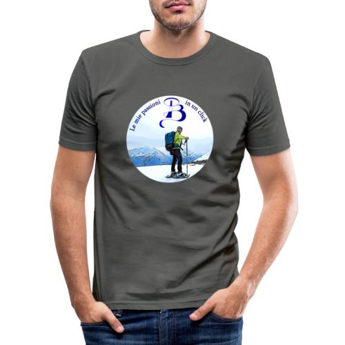 Logo cartone ciaspole - Maglietta aderente da uomo