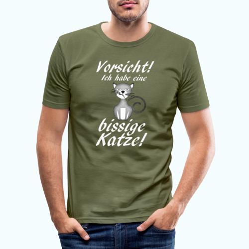 VORSICHT ich habe eine bissige Katze! - Men's Slim Fit T-Shirt