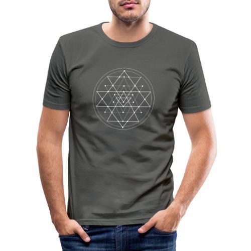 Valkoinen geometrinen Shri Yantra -kuvio - Miesten tyköistuva t-paita